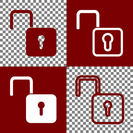 cleanliness: Unlock sign illustration. Vector. Bordo and white icons and line icons on chess board with transparent background.