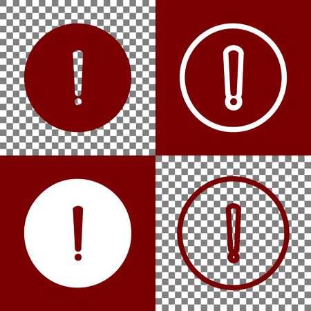 inform information: Exclamation mark sign. Vector. Bordo and white icons and line icons on chess board with transparent background.