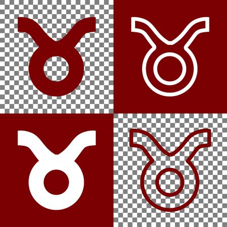 Ilustración de signo de Tauro. Vector. Bordo y blanco iconos e iconos de línea en el tablero de ajedrez con fondo transparente.
