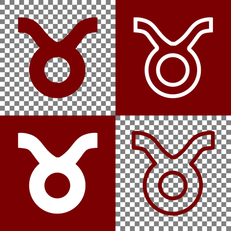 zodiacal symbol: Taurus sign illustration. Vector. Bordo and white icons and line icons on chess board with transparent background.