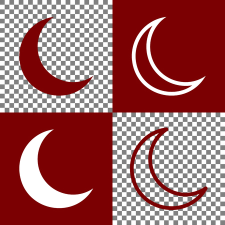 rare: Moon sign illustration. Vector. Bordo and white icons and line icons on chess board with transparent background.
