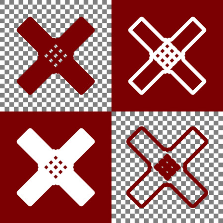 emergency cart: Aid sticker sign. Vector. Bordo and white icons and line icons on chess board with transparent background. Illustration