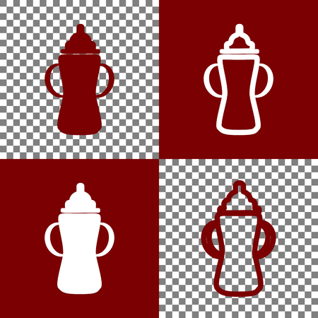 bordo: Baby bottle sign. Vector. Bordo and white icons and line icons on chess board with transparent background.