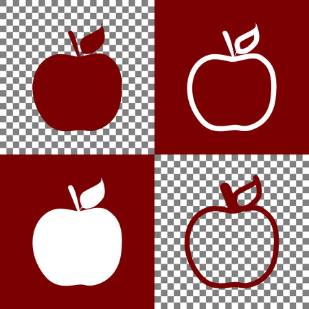bordo: Apple sign illustration. Vector. Bordo and white icons and line icons on chess board with transparent background.