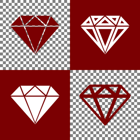 diamond stones: Diamond sign illustration. Vector. Bordo and white icons and line icons on chess board with transparent background. Illustration