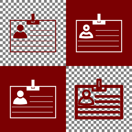 Id card sign. Vector. Bordo and white icons and line icons on chess board with transparent background.