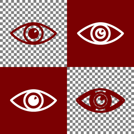 bordo: Eye sign illustration. Vector. Bordo and white icons and line icons on chess board with transparent background. Illustration