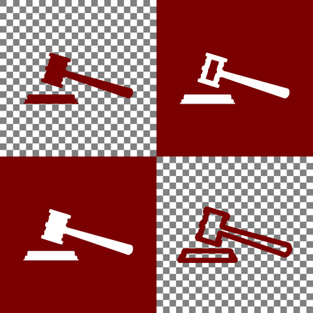 continue: Justice hammer sign. Vector. Bordo and white icons and line icons on chess board with transparent background.