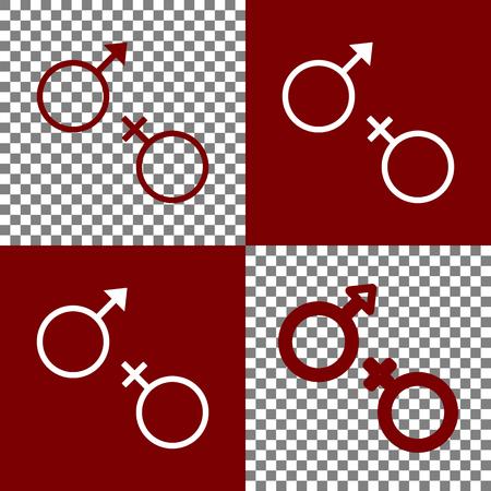 セックス シンボル サイン。ベクトル。Bordo と白のアイコンと背景が透明なチェスボード上行アイコン。  イラスト・ベクター素材
