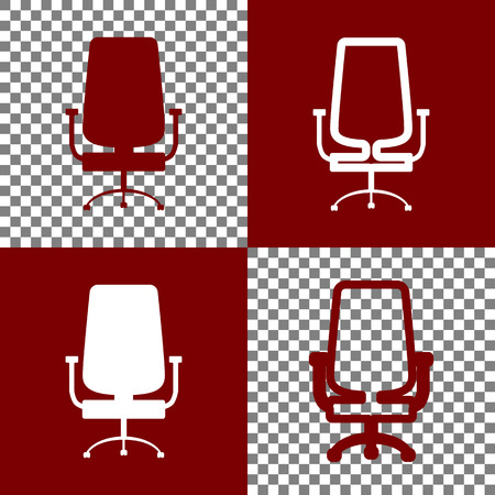 bordo: Office chair sign. Vector. Bordo and white icons and line icons on chess board with transparent background.