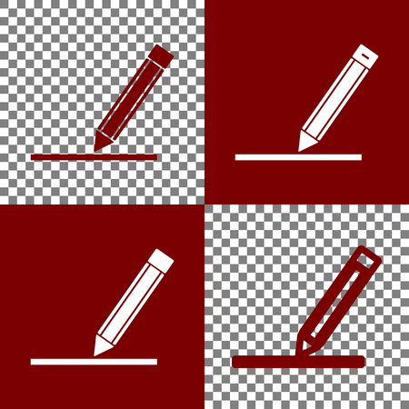 bordo: Pencil sign illustration. Vector. Bordo and white icons and line icons on chess board with transparent background. Illustration