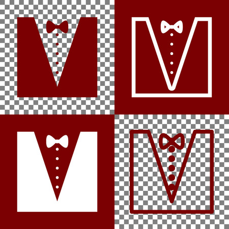 Tuxedo with bow silhouette. Vector. Bordo and white icons and line icons on chess board with transparent background.