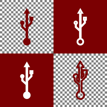 bordo: USB sign illustration. Vector. Bordo and white icons and line icons on chess board with transparent background.