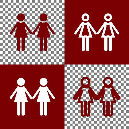 bordo: Lesbian family sign. Vector. Bordo and white icons and line icons on chess board with transparent background.