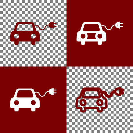 bordo: Eco electric car sign. Vector. Bordo and white icons and line icons on chess board with transparent background.