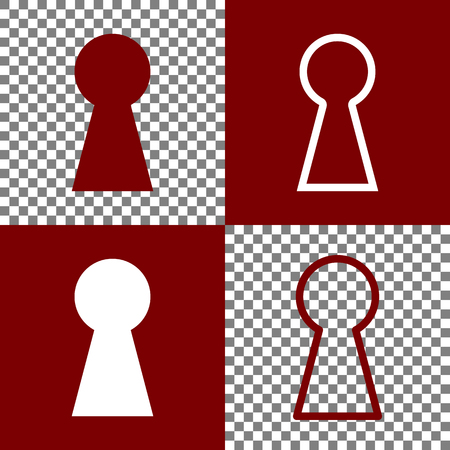 Keyhole sign illustration. Vector. Bordo and white icons and line icons on chess board with transparent background. Illustration
