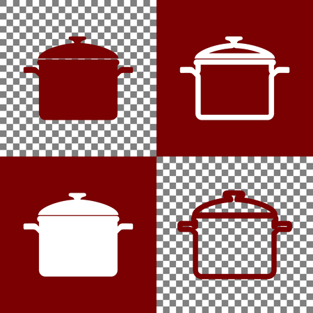 Cooking pan sign. Vector. Bordo and white icons and line icons on chess board with transparent background.