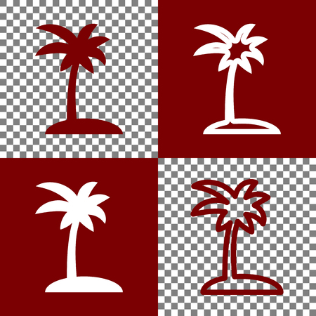 bordo: Coconut palm tree sign. Vector. Bordo and white icons and line icons on chess board with transparent background.