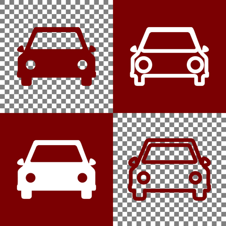 racing sign: Car sign illustration. Vector. Bordo and white icons and line icons on chess board with transparent background.