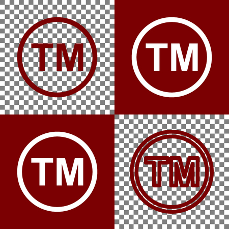 bordo: Trade mark sign. Vector. Bordo and white icons and line icons on chess board with transparent background.