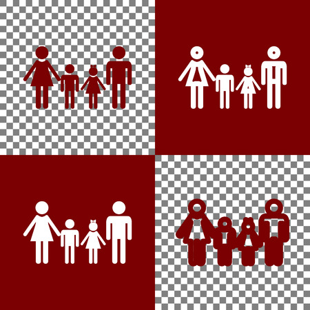 cleanliness: Family sign. Vector. Bordo and white icons and line icons on chess board with transparent background.