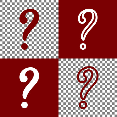 queries: Question mark sign. Vector. Bordo and white icons and line icons on chess board with transparent background.