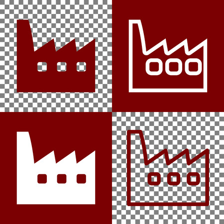 dangerous construction: Factory sign illustration. Vector. Bordo and white icons and line icons on chess board with transparent background.