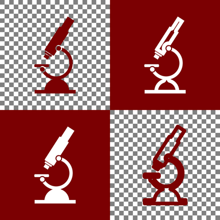 cleanliness: Chemistry microscope sign for laboratory. Vector. Bordo and white icons and line icons on chess board with transparent background.