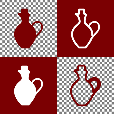 antique vase: Amphora sign illustration. Vector. Bordo and white icons and line icons on chess board with transparent background. Illustration