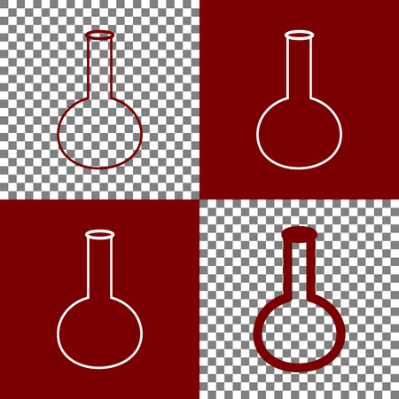 bordo: Tube. Laboratory glass sign. Vector. Bordo and white icons and line icons on chess board with transparent background. Illustration