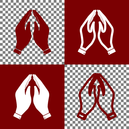 Hand icon illustration. Prayer symbol. Vector. Bordo and white icons and line icons on chess board with transparent background.