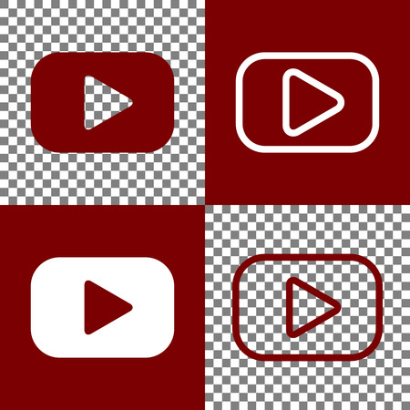 pause button: Play button sign. Vector. Bordo and white icons and line icons on chess board with transparent background. Illustration