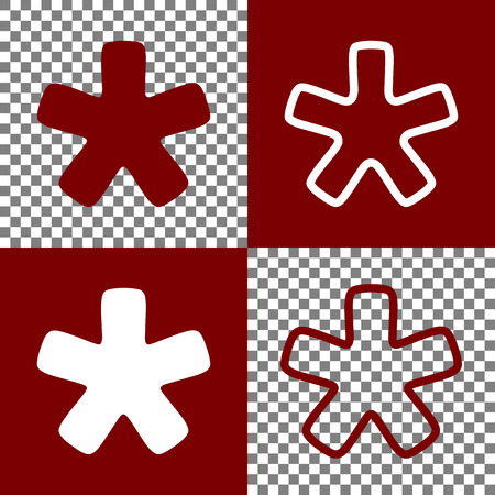 Asterisk star sign. Vector. Bordo and white icons and line icons on chess board with transparent background. Ilustração