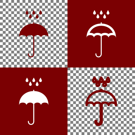 bordo: Umbrella with water drops. Rain protection symbol. Flat design style. Vector. Bordo and white icons and line icons on chess board with transparent background.