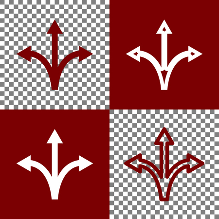 opportunity sign: Three-way direction arrow sign. Vector. Bordo and white icons and line icons on chess board with transparent background.
