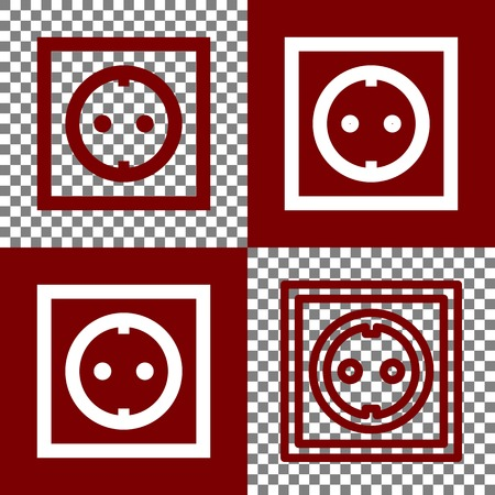 bordo: Electrical socket sign. Vector. Bordo and white icons and line icons on chess board with transparent background. Illustration