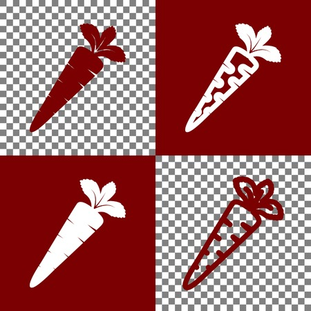 delectable: Carrot sign illustration. Vector. Bordo and white icons and line icons on chess board with transparent background. Illustration