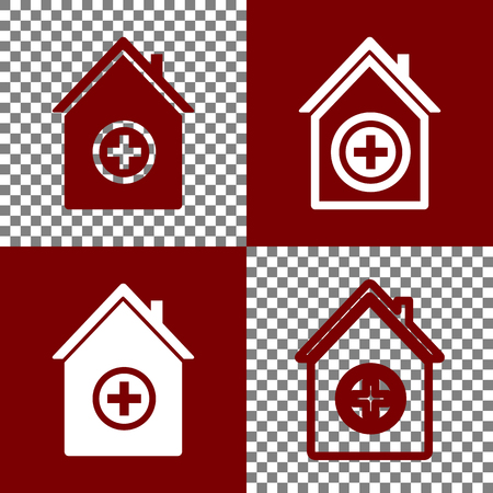 emergency cart: Hospital sign illustration. Vector. Bordo and white icons and line icons on chess board with transparent background.