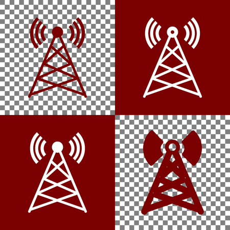 tv tower: Antenna sign illustration. Vector. Bordo and white icons and line icons on chess board with transparent background. Illustration