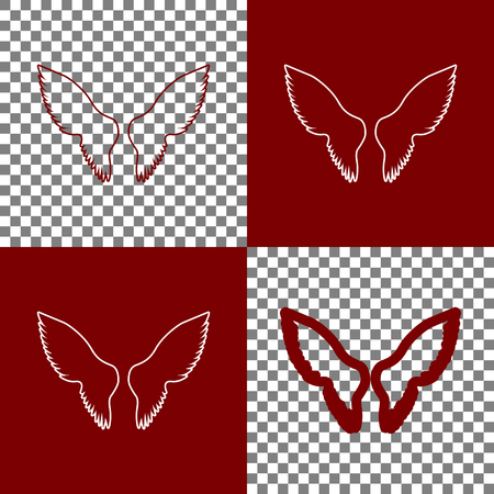 bordo: Wings sign illustration. Vector. Bordo and white icons and line icons on chess board with transparent background.