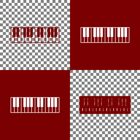 tons: Piano Keyboard sign. Vector. Bordo and white icons and line icons on chess board with transparent background.
