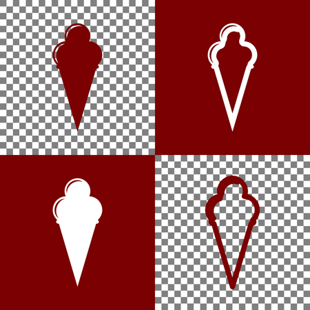 bordo: Ice Cream sign. Vector. Bordo and white icons and line icons on chess board with transparent background. Illustration
