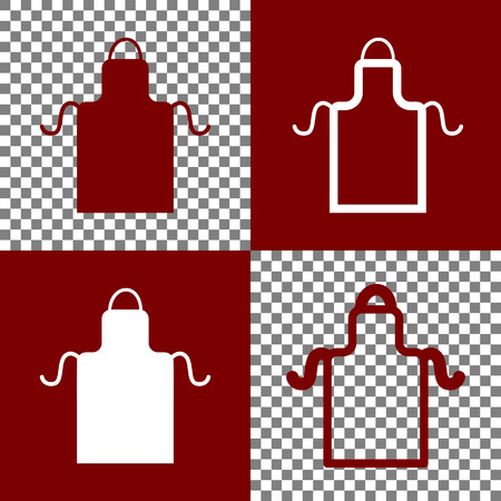 Apron simple sign. Vector. Bordo and white icons and line icons on chess board with transparent background.