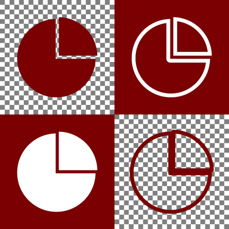 bordo: Business graph sign. Vector. Bordo and white icons and line icons on chess board with transparent background.