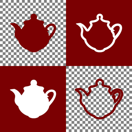 prepare: Tea maker Kitchen sign. Vector. Bordo and white icons and line icons on chess board with transparent background.