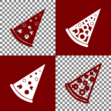 supper: Pizza simple sign. Vector. Bordo and white icons and line icons on chess board with transparent background.