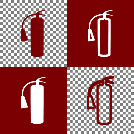 Fire extinguisher sign. Vector. Bordo and white icons and line icons on chess board with transparent background. Ilustração