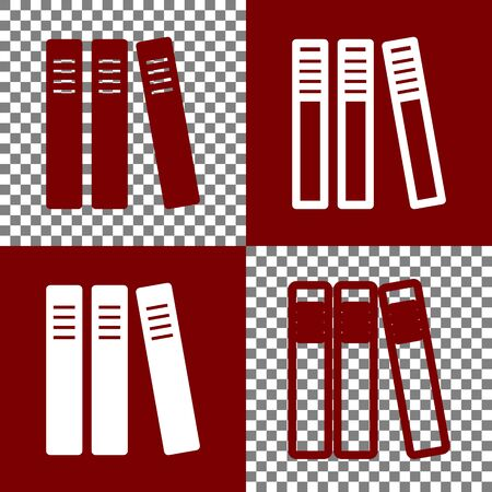 Row of binders, office folders icon. Vector. Bordo and white icons and line icons on chess board with transparent background. Illustration