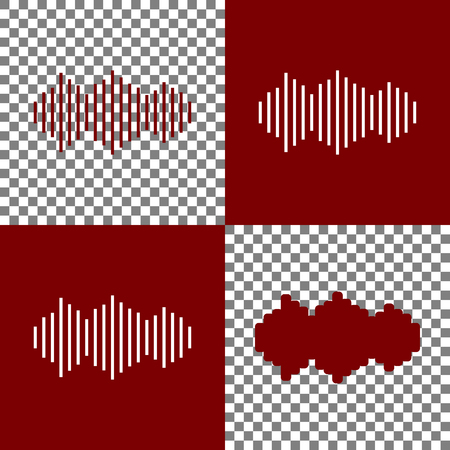 vibrations: Sound waves icon. Vector. Bordo and white icons and line icons on chess board with transparent background.