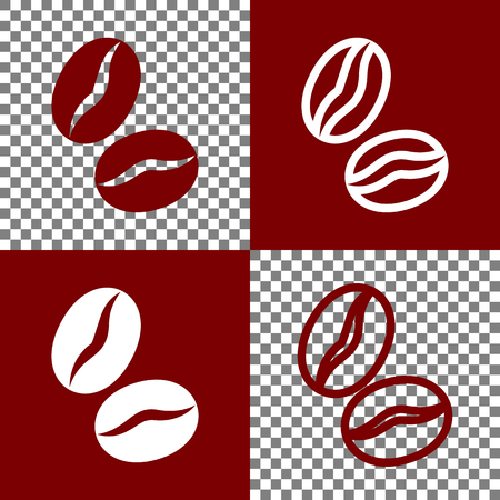 Coffee beans sign. Vector. Bordo and white icons and line icons on chess board with transparent background.